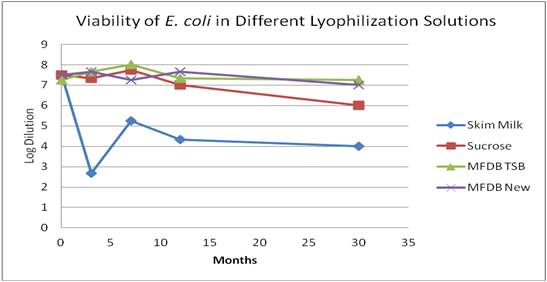 Survival of E. coli with different lyoprotectants.
